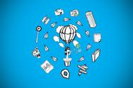Stock Illustration of Composite image of girl in hot air balloon surrounded by doodles