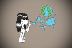 Composite image of girl blowing earth bubbles Stock Illustration