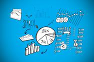 Stock Illustration of Composite image of data analysis doodles