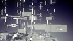 VJ Loop - 3D rectangles and boxes floating, dispersing, generating in space - stock footage