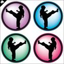 Stock Illustration of Karate kid martial arts colored set.