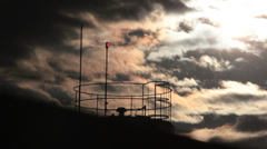 Dark clouds. Time lapse. Top of the building. Antenna Stock Footage