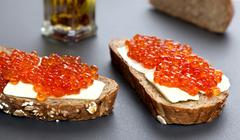 Sandwiches With Red Caviar - stock photo