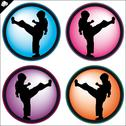 Stock Illustration of Kid, child,boy in Combat karate martial arts. LOGO SET