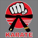 Stock Illustration of Combat karate martial arts fist, belt. LOGO SET