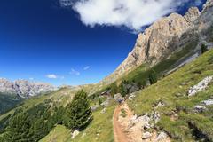 dolomiti - footpath in fassa valley - stock photo