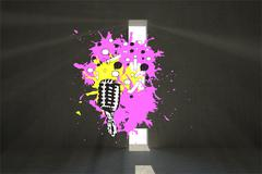 Composite image of microphone on paint splashes Stock Illustration