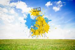 Composite image of teamwork concept on paint splashes Stock Illustration