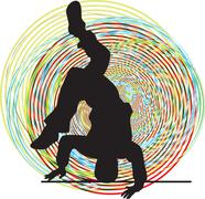 Stock Illustration of  Breakdancer dancing on hand stand silhouette