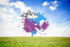 Composite image of storm clouds on paint splashes Stock Illustration