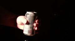 Man Crushing Soda Can Stock Footage