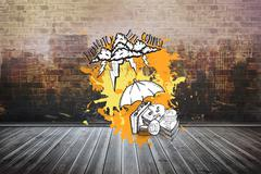 Composite image of bankruptcy concept on paint splashes Stock Illustration