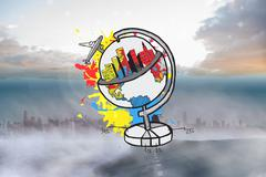 Composite image of global tourism concept on paint splashes Stock Illustration