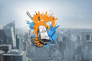 Stock Illustration of Composite image of profit concept on paint splashes