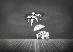 Composite image of umbrella protecting money from debt storm Stock Illustration