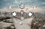 Stock Illustration of Composite image of time and hot air balloons doodle