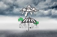 Stock Illustration of Composite image of umbrella sheltering city doodle