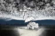 Stock Illustration of Composite image of umbrella protecting money from debt storm