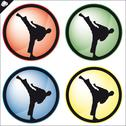 Stock Illustration of Combat karate martial arts button. LOGO SET