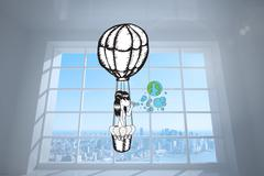 Composite image of girl in hot air balloon blowing earth bubbles Stock Illustration