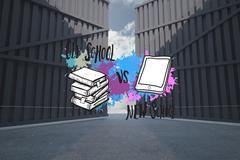 Composite image of old school vs new school on paint splashes Stock Illustration