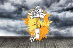 Composite image of career progession concept on paint splashes Stock Illustration