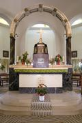 altar in church of beatitudes in tabgha on lake kinneret - stock photo