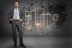 Composite image of serious businessman with hands on hips - stock illustration