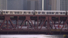 CHI ElTrain river bridges day Stock Footage