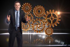 Stock Illustration of Composite image of stressed businessman gesturing