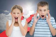 Stock Illustration of Composite image of brother and sister being shocked