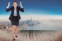 Stock Illustration of Composite image of angry businesswoman gesturing