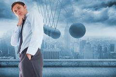 Composite image of thoughtful businessman with hand on chin - stock illustration
