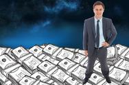 Stock Illustration of Composite image of cheerful businessman standing with hand on hip