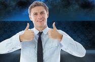 Stock Illustration of Composite image of businessman showing thumbs up