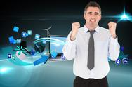 Stock Illustration of Composite image of portrait of a cheerful businessman with the fists up