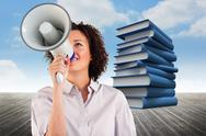 Stock Illustration of Composite image of businesswoman shouting through megaphone