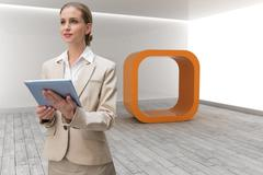 Stock Illustration of Composite image of pensive stylish businesswoman holding tablet