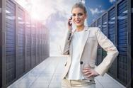 Stock Illustration of Composite image of cheerful elegant businesswoman on the phone