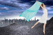 Stock Illustration of Composite image of young beautiful female dancer with blue scarf