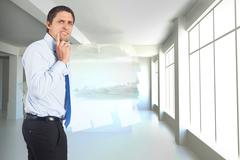 Composite image of thinking businessman touching his chin - stock illustration