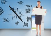 Stock Illustration of Composite image of businesswoman holding a placard