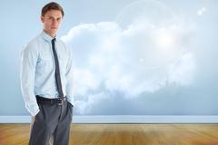 Composite image of serious businessman standing with hands in pockets - stock illustration