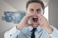 Stock Illustration of Composite image of angry businessman shouting