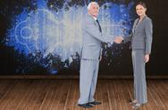 Stock Illustration of Composite image of businessman and woman shaking hands