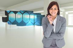 Stock Illustration of Composite image of smiling thoughtful businesswoman