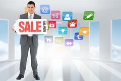 Stock Illustration of Composite image of businessman with signboard