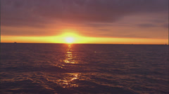 Chicago sunrise over a Lake Michigan, zoom Stock Footage