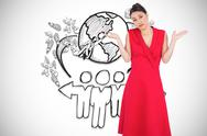 Stock Illustration of Composite image of hesitant elegant brunette in red dress posing