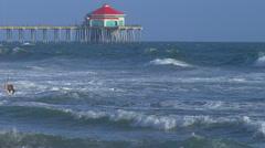 Wind Surfing on Huntington Beach, CA Stock Footage